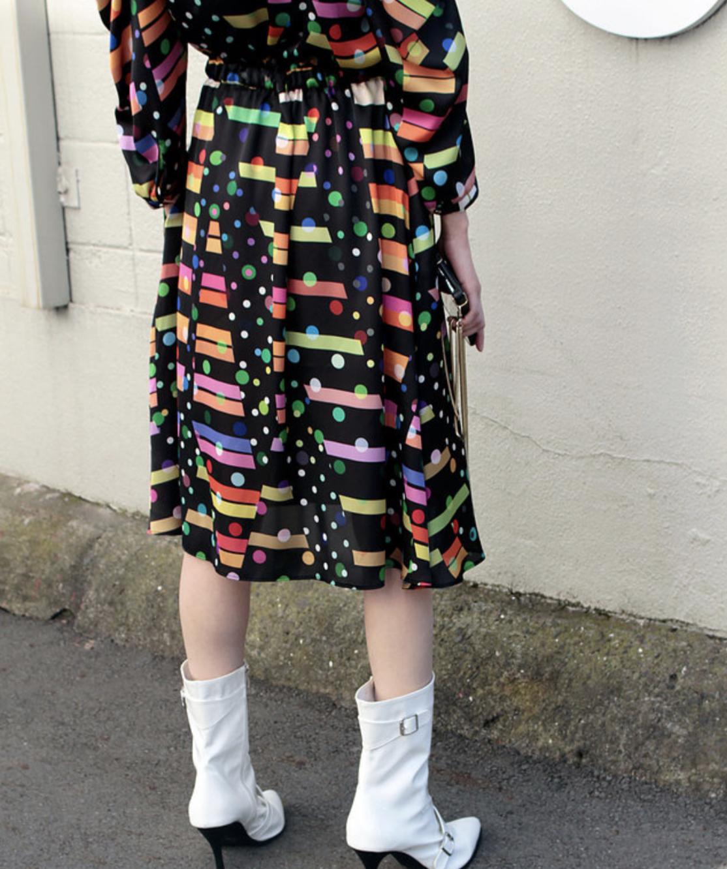 FLUMOR  Import dot/leopard print race switching dress