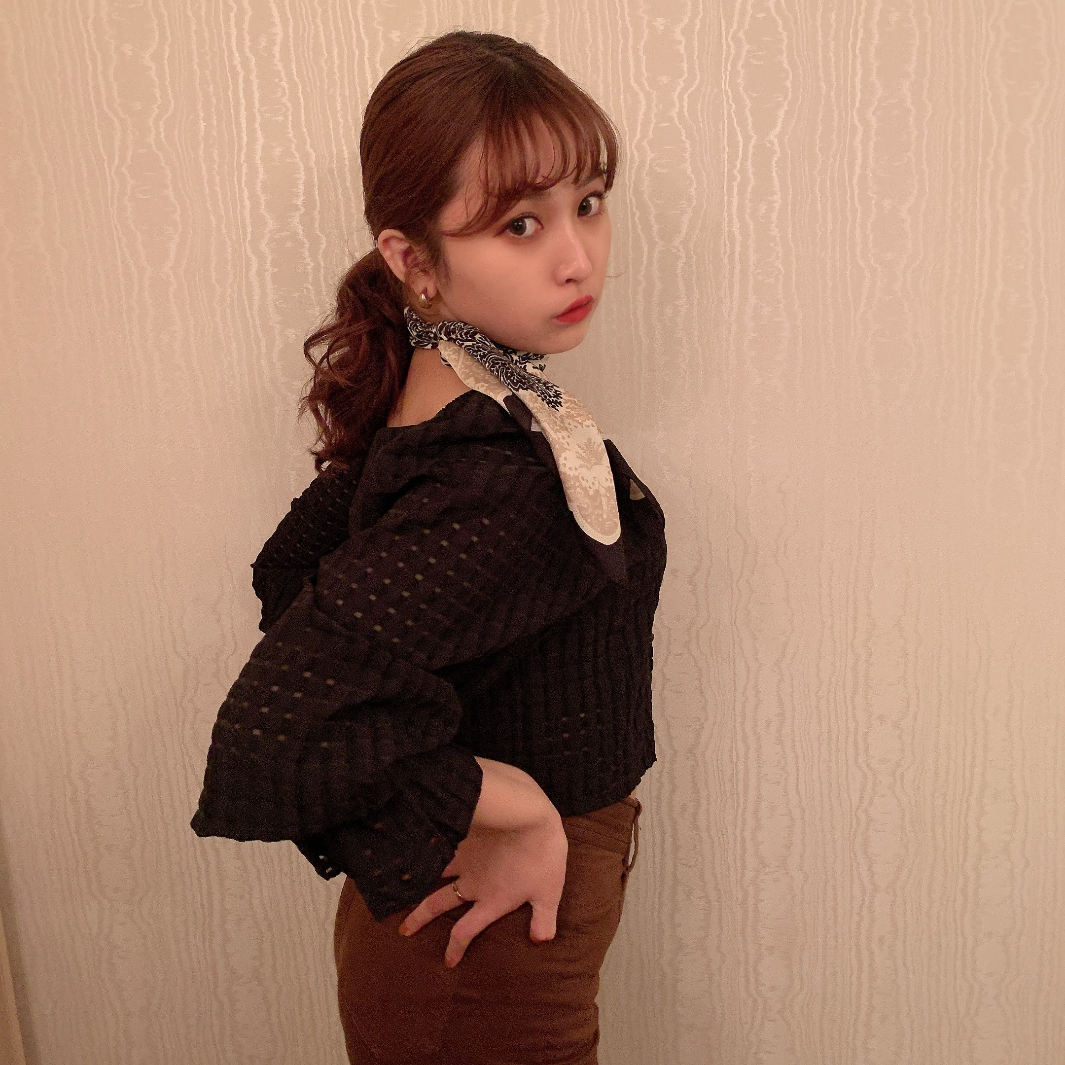 see through check short blouse