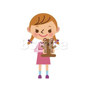 イラスト素材:ぬいぐるみを持った女の子(ベクター・JPG)