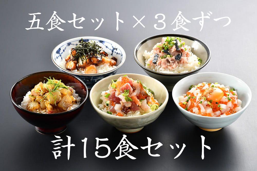 うお吟の海鮮丼全5種×3食ずつセット
