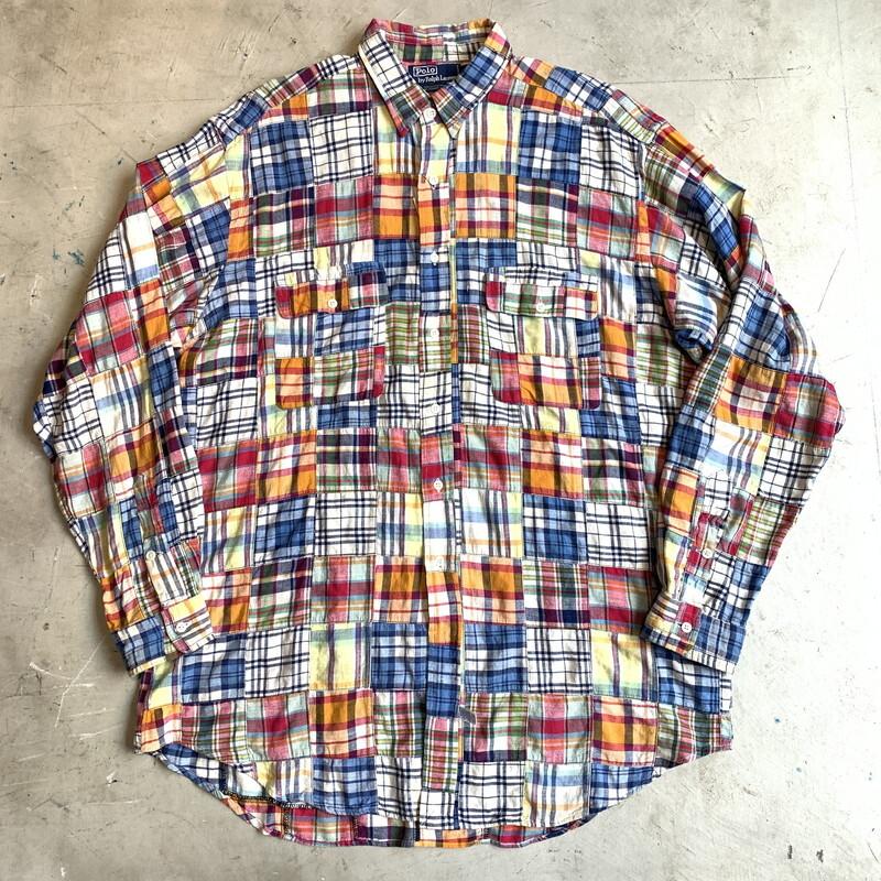 90's 00's Polo by Ralph Lauren マドラスチェックパッチワークシャツ クレイジーパターン マルチカラー ビッグシルエット シンガポール製 LARGE 希少 ヴィンテージ BA-1306 RM1675H