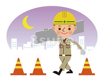 イラスト素材:建材を運ぶ土木作業員/夜間背景(ベクター・JPG)