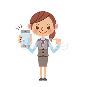 イラスト素材:スマートフォンを持つOL・事務スタッフ(ベクター・JPG)