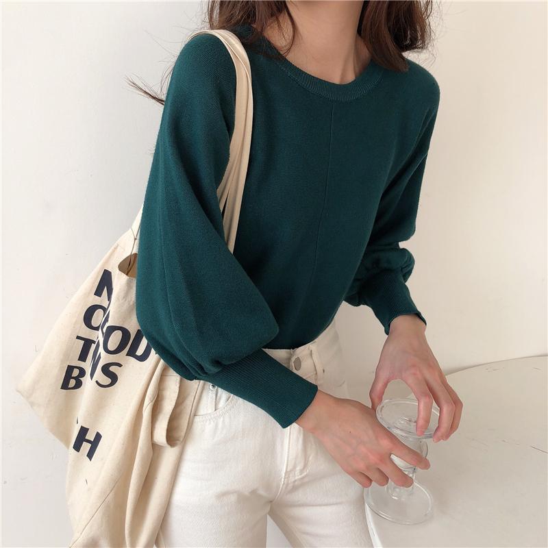 センターパートシンプルニットセーター【center part simple knit sweater】
