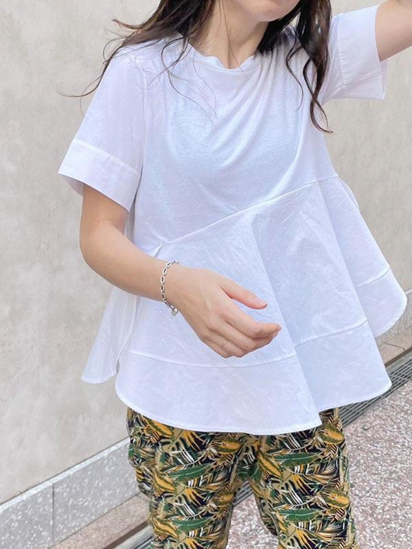 裾フリル切り替えTee[Color:ホワイト]