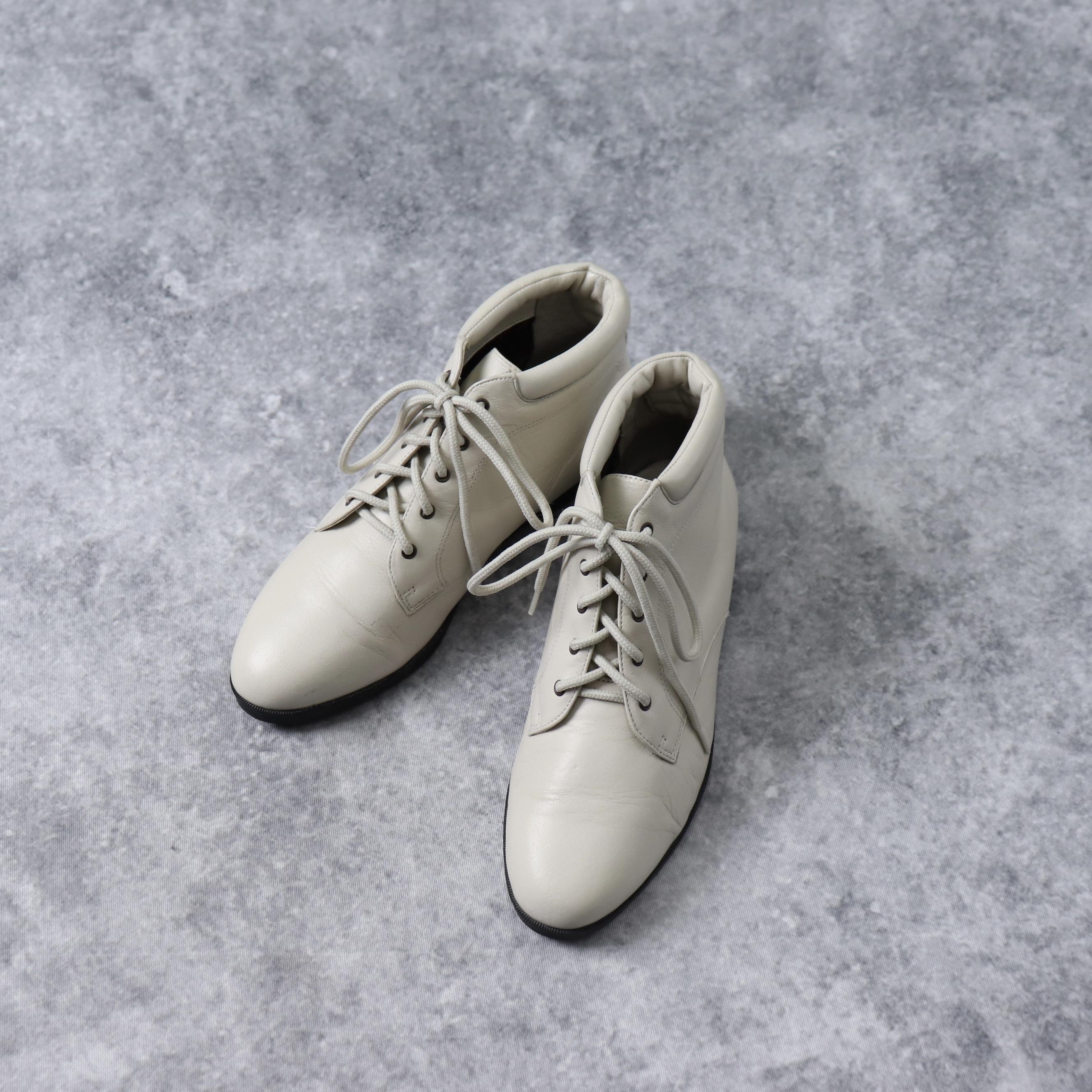 """レディース 80年代 """"DANEXX"""" 本革レザー レースアップ ショートブーツ アメリカ 靴 オフホワイト 7"""