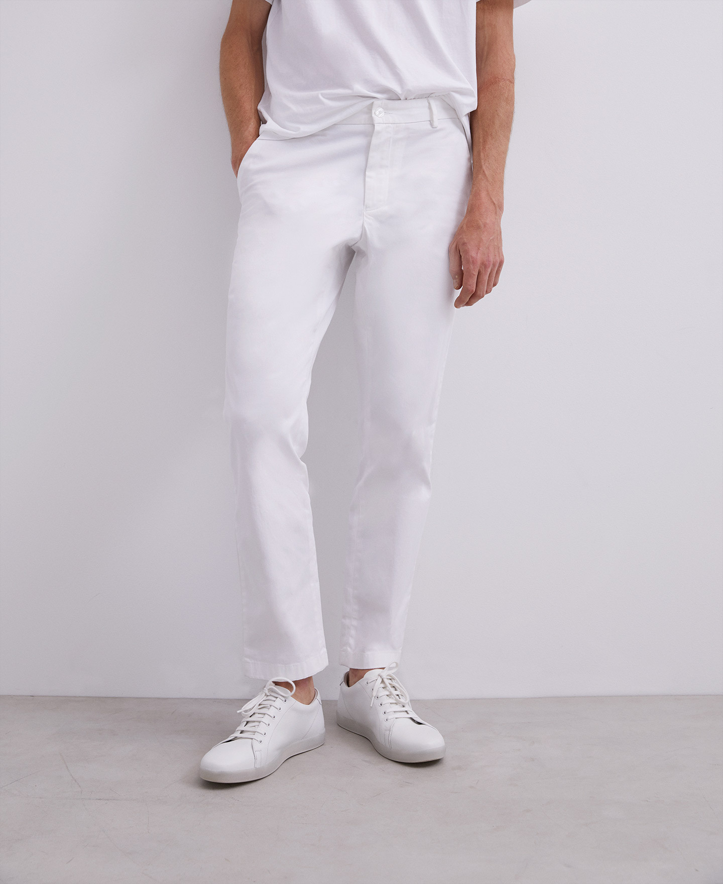 ELASTIC COTTON CHINO TROUSERS [168561259211]