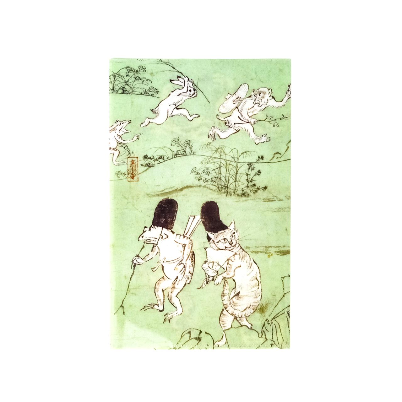 鳥獣戯画 三つ折りファイルねこ 緑