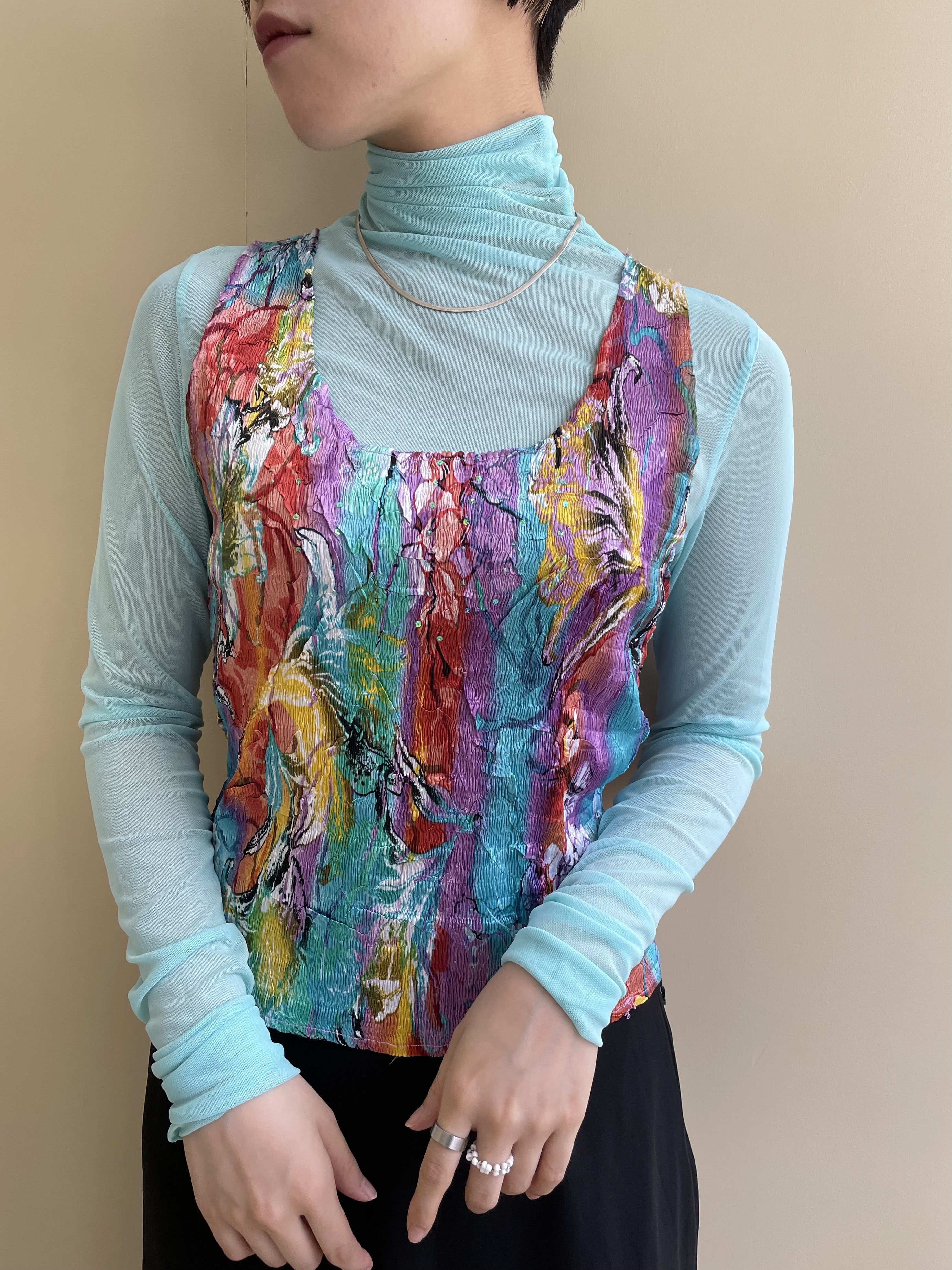 flower pattern colorful tops / 7SSTP15-11