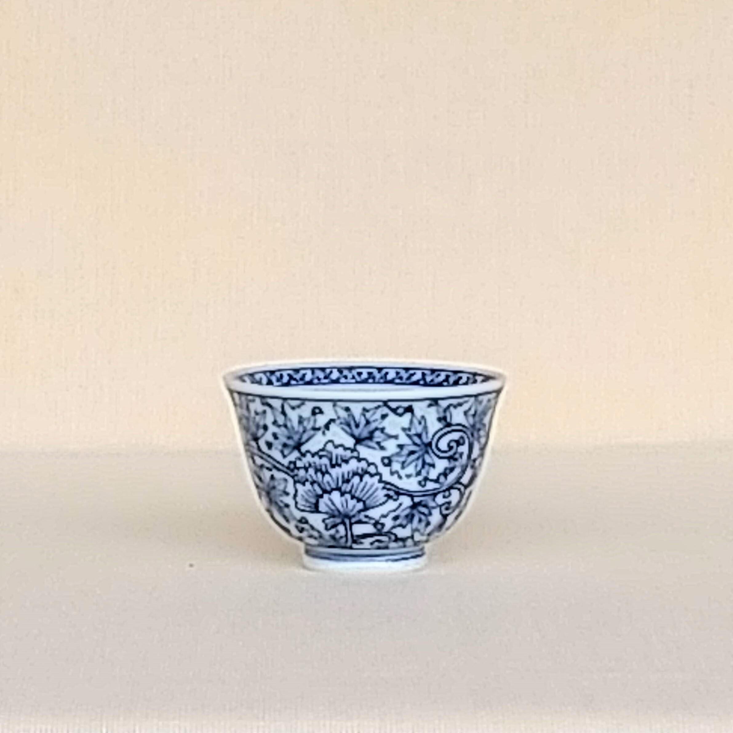 伐太郎窯 染付 牡丹唐草 小仙茶