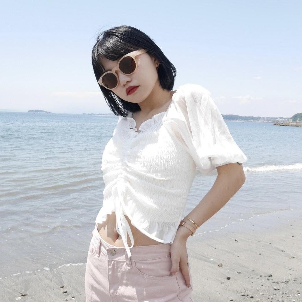 【Belle】shirring silky blouse / white