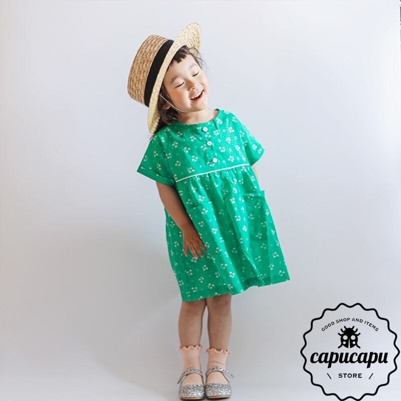 «sold out» flower green one-piece フラワーワンピース