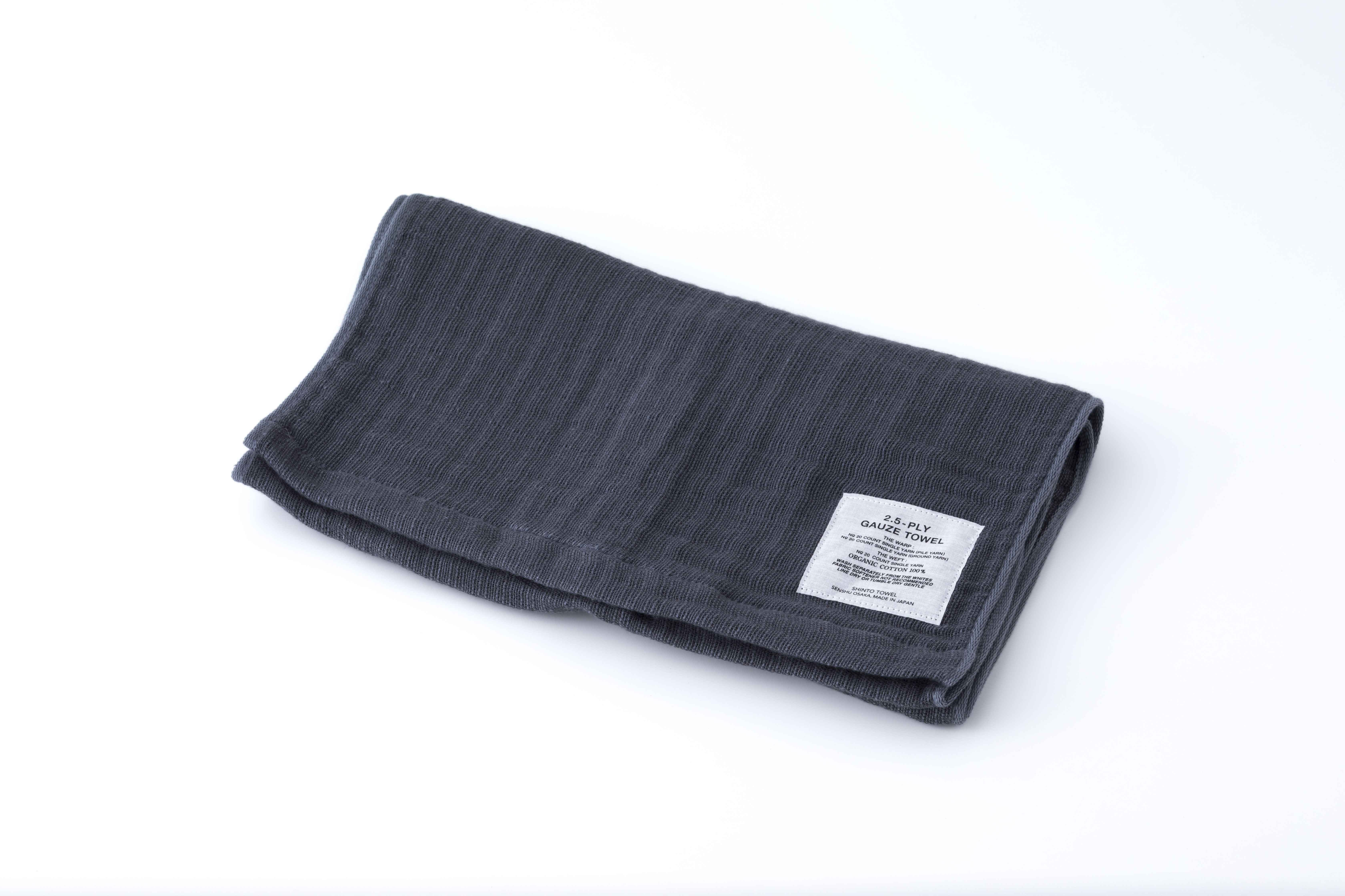 2.5-PLY GAUZE TOWEL:MUFFLER TOWEL (Charcoal) / SHINTO TOWEL