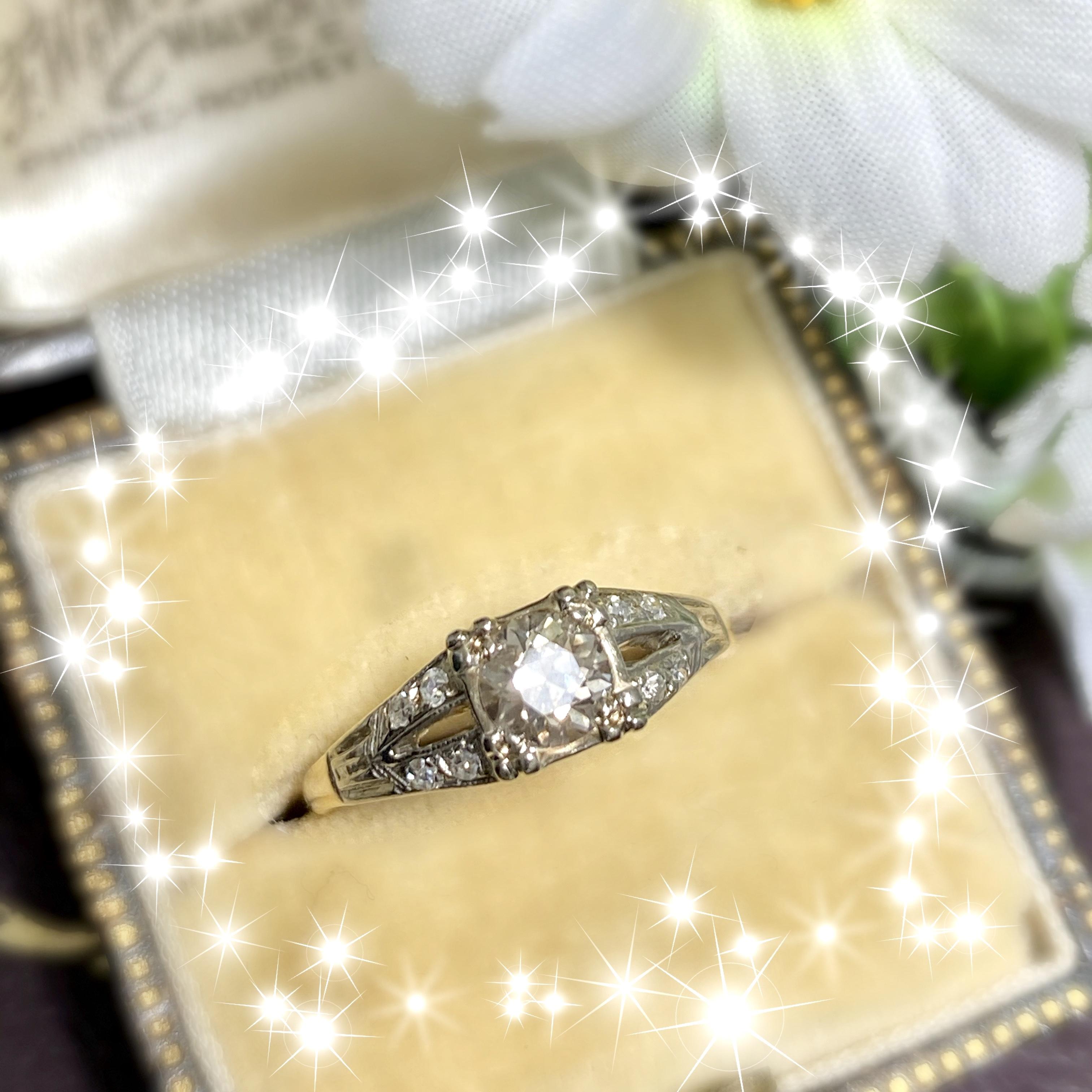 アメリカ ヴィンテージ リング14金 オールドヨーロピアンカット ダイヤモンド エンゲージリング❤︎