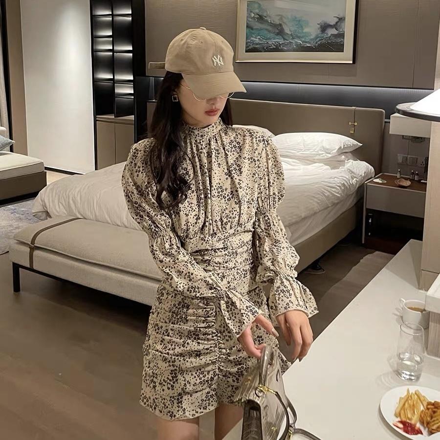 shirring flower dress