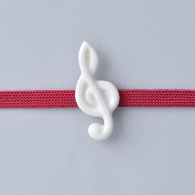 白磁の帯留 音符
