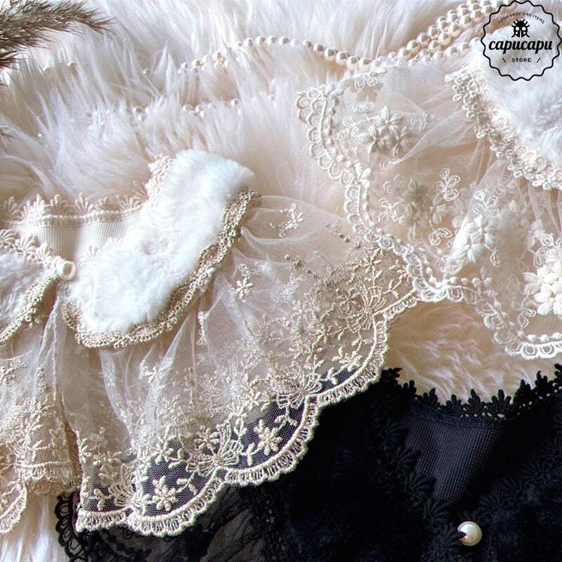 «即納» Pearl button Lace cape 3 types ファーパールボタンケープ  つけ襟