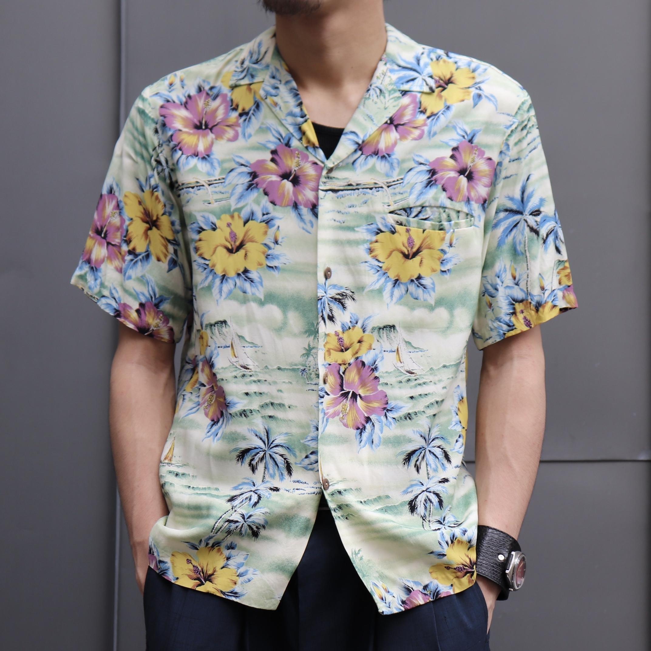 80s s/s Rayon Hawaiian Shirts  80年代 レーヨン アロハシャツ ハイビスカス柄 A754