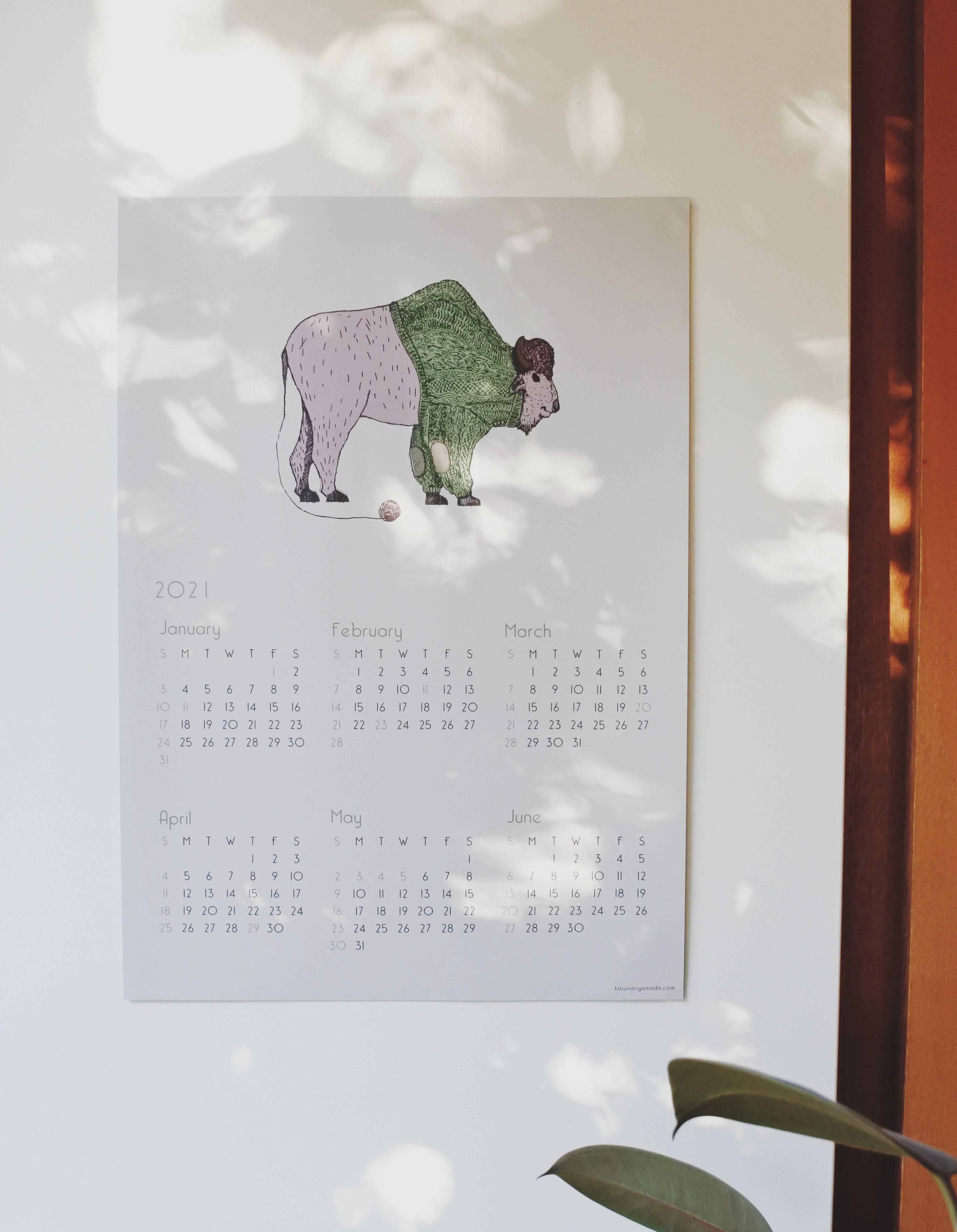 "2021 Calendar ""BUFFALO""  オリジナルカレンダー バッファロー"