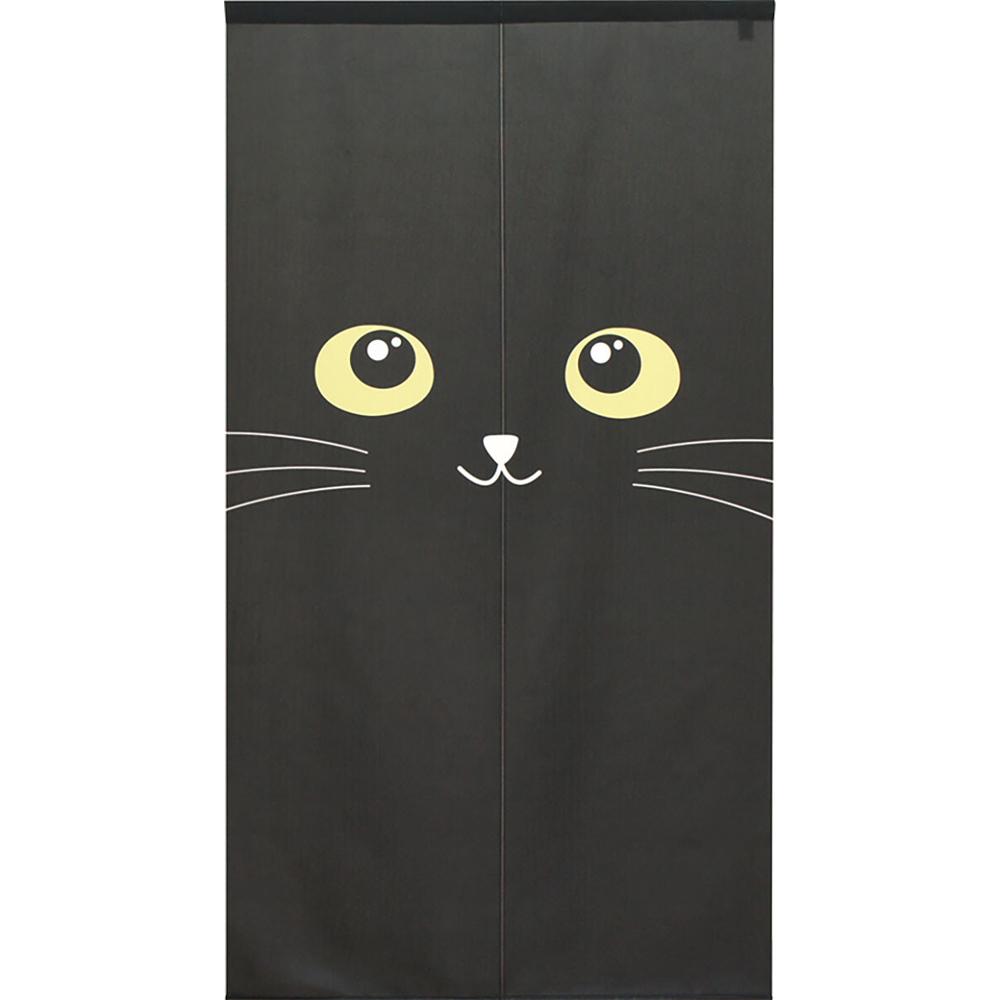 猫のれん(黒猫アップ)