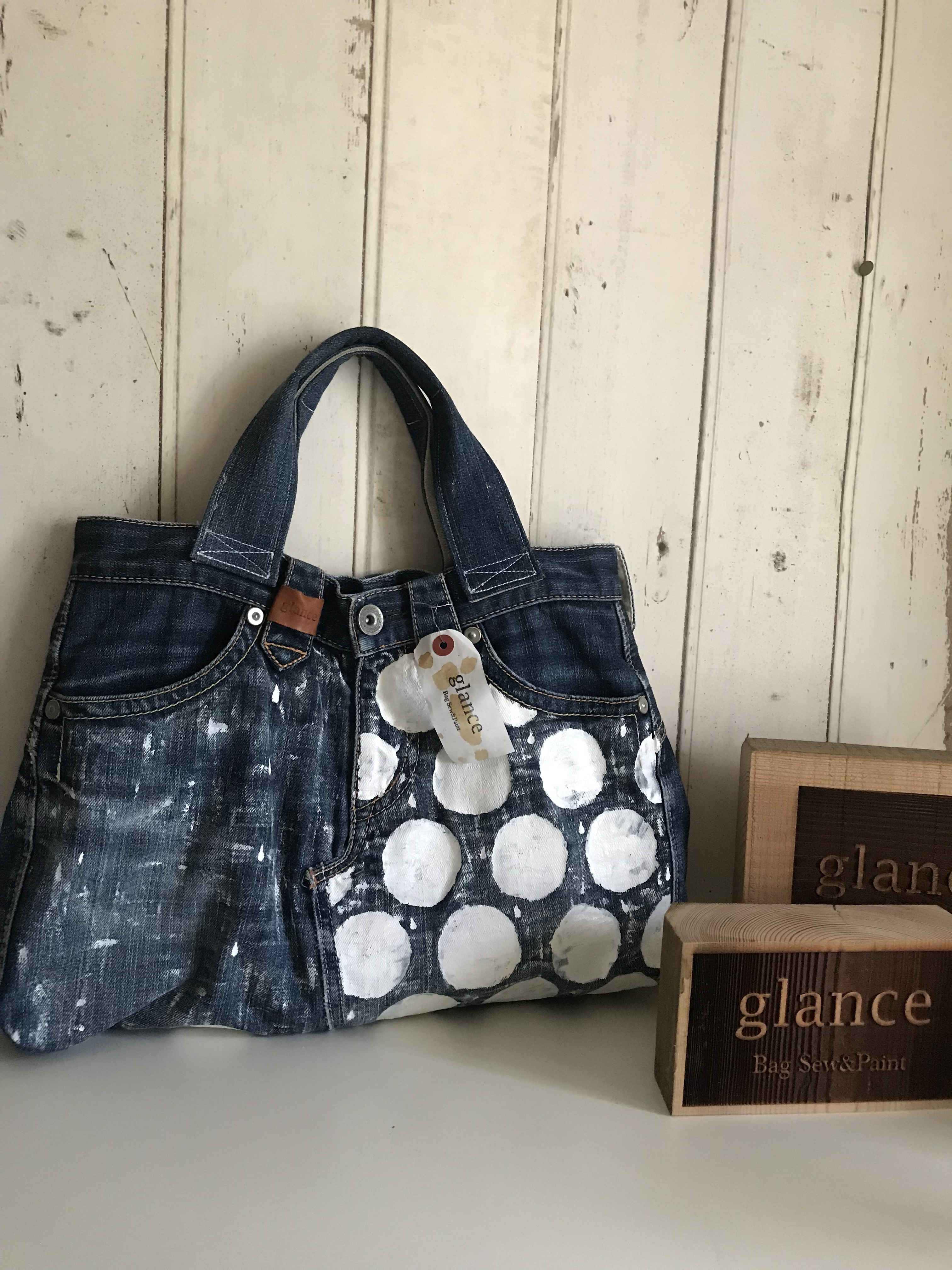 polka-dots paint*used denim (手提げバッグ)