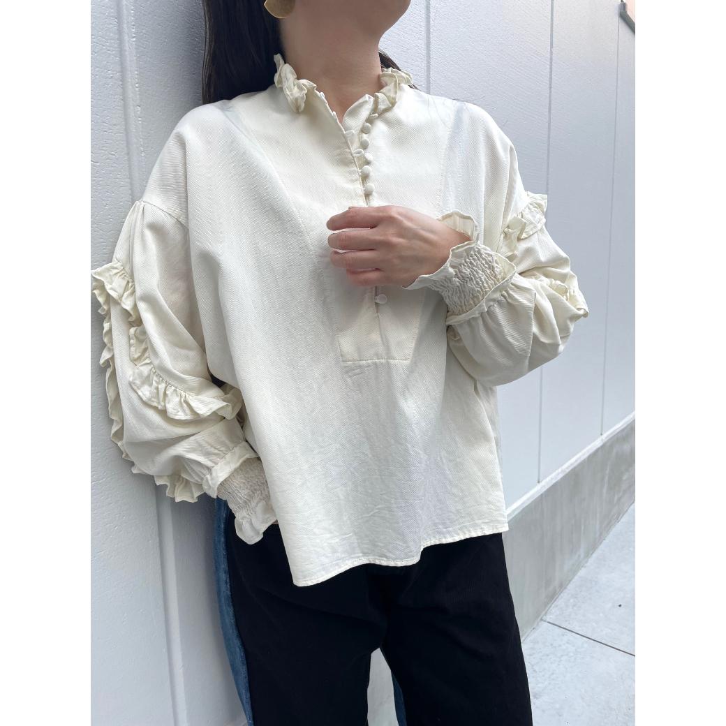 【RehersalL】twill frill blouse(off) /【リハーズオール】ツイルフリルブラウス(オフ)