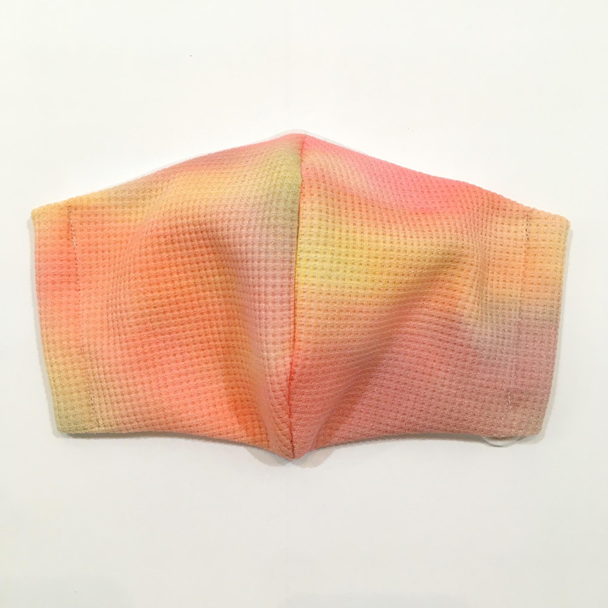 【HOLLYGRANTPATTERN】手染めの立体布マスク(オレンジ)UVカット