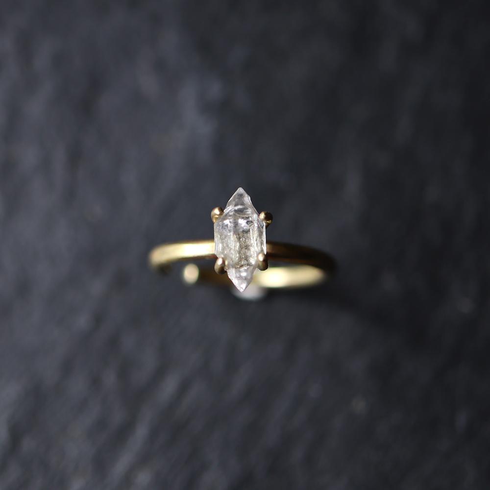 オーダー:原石ダイヤモンドクォーツのイヤーカフ/リング