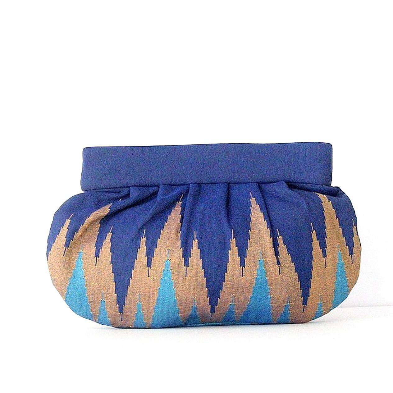 手織りクラッチL  ジグザグ柄  ブルー