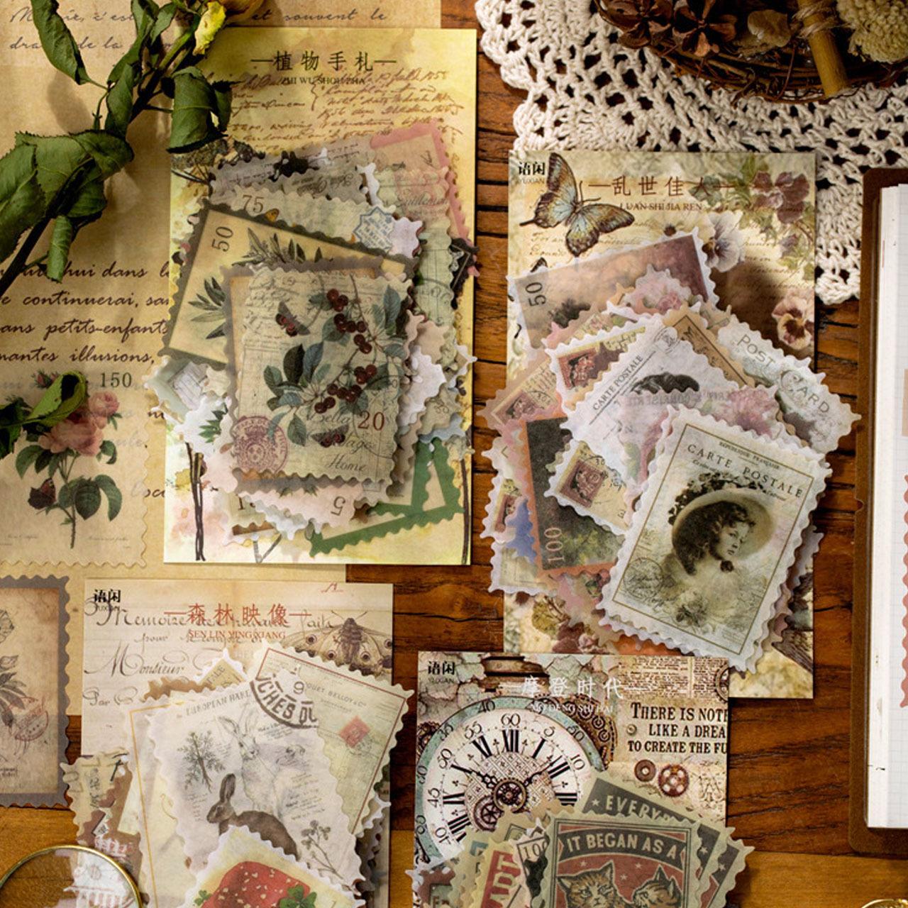 レトロ スタンプ ステッカー 全4種 きのこ うさぎ 植物 花 貴婦人 切手モチーフ ほぼ日手帳 コラージュ ジャンクジャーナル 素材 シール F01