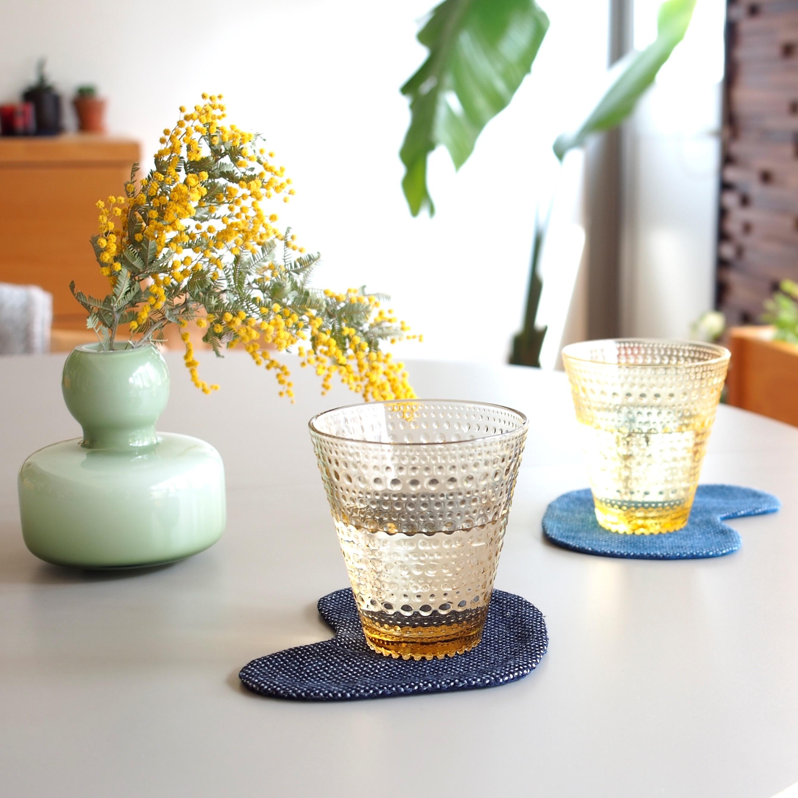 うしじま縫製 | 武州正藍染 トリっぽいコースター 一重刺子