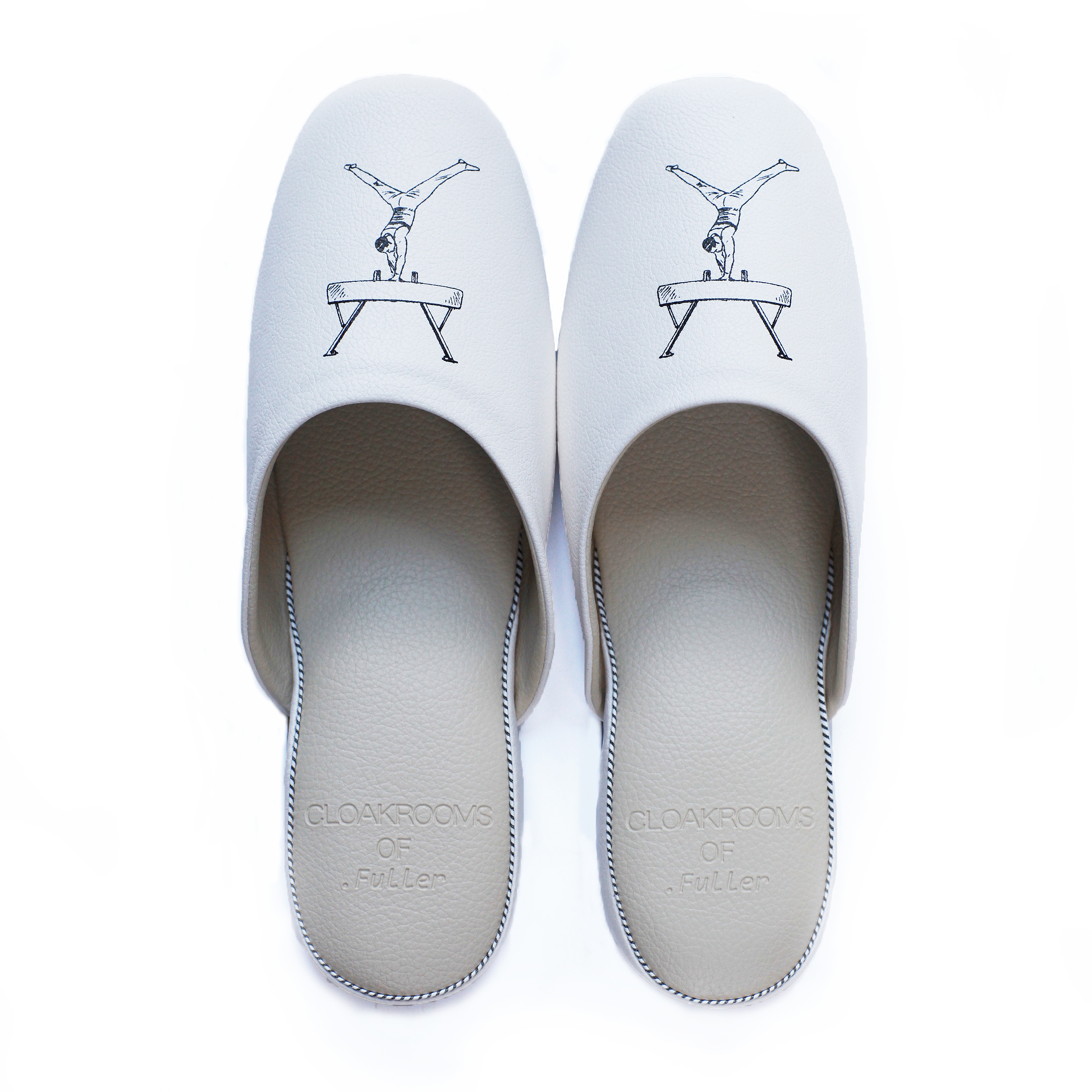 CLOAKROOMS of .Fuller PANTOUFLE クロークルームス スリッパ 【Gymnastics】 white/beige 竹田嘉文 デザイン