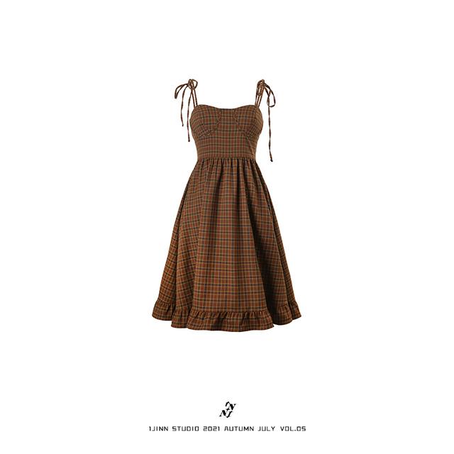 【1 JINN STUDIO】チェック柄ワンピース