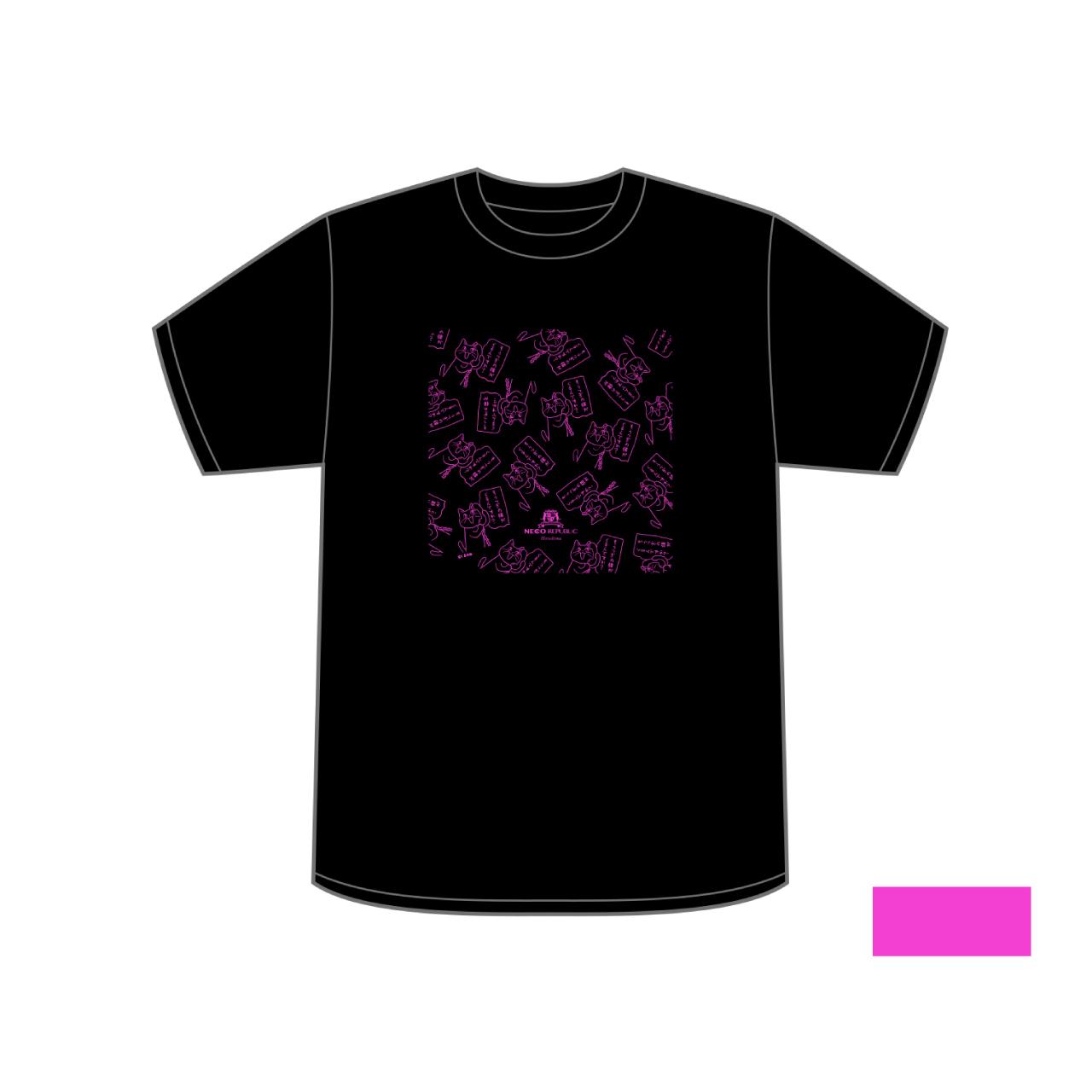 ©️くまみね ネコリパブリック広島オリジナルTシャツ<黒×蛍光ピンク>
