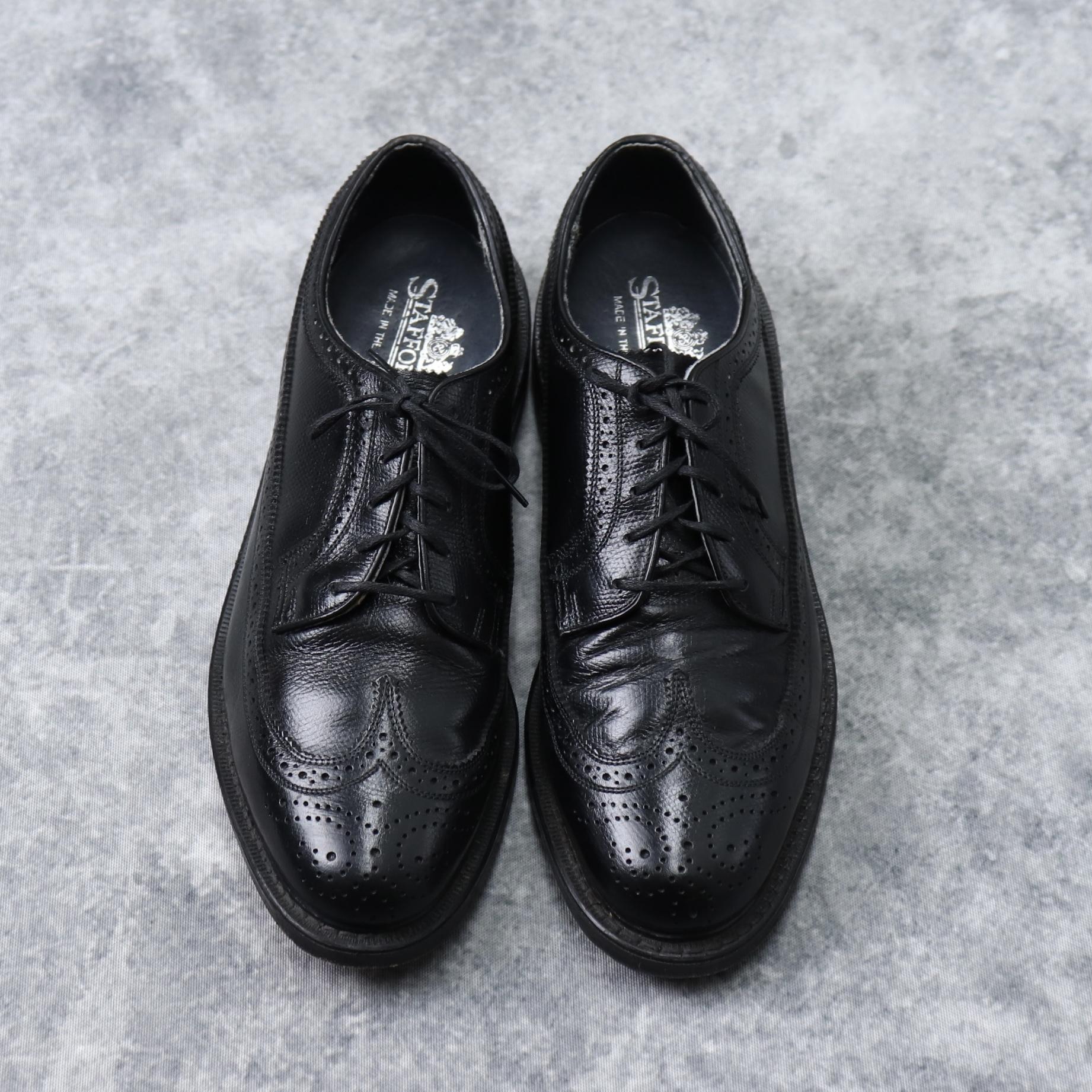 """80年代 """" STAFFORD """" スタッフォード 革靴 ウイングチップ 10 D ブラック USA製 古着 A221"""