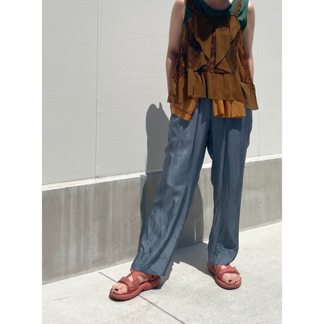 【hippiness】cupro easy pants (blue gray) /【ヒッピネス】キュプラ イージーパンツ(ブルー グレー)