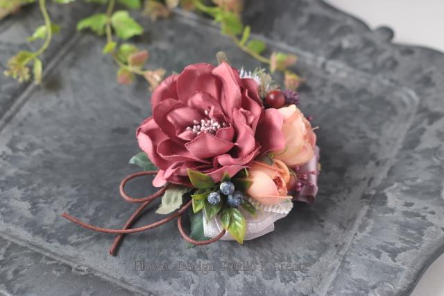 ダスティピンクのダリアコサージュ フォーマル 秋色 コサージュ 卒園式 入園式 結婚式 冠婚葬祭
