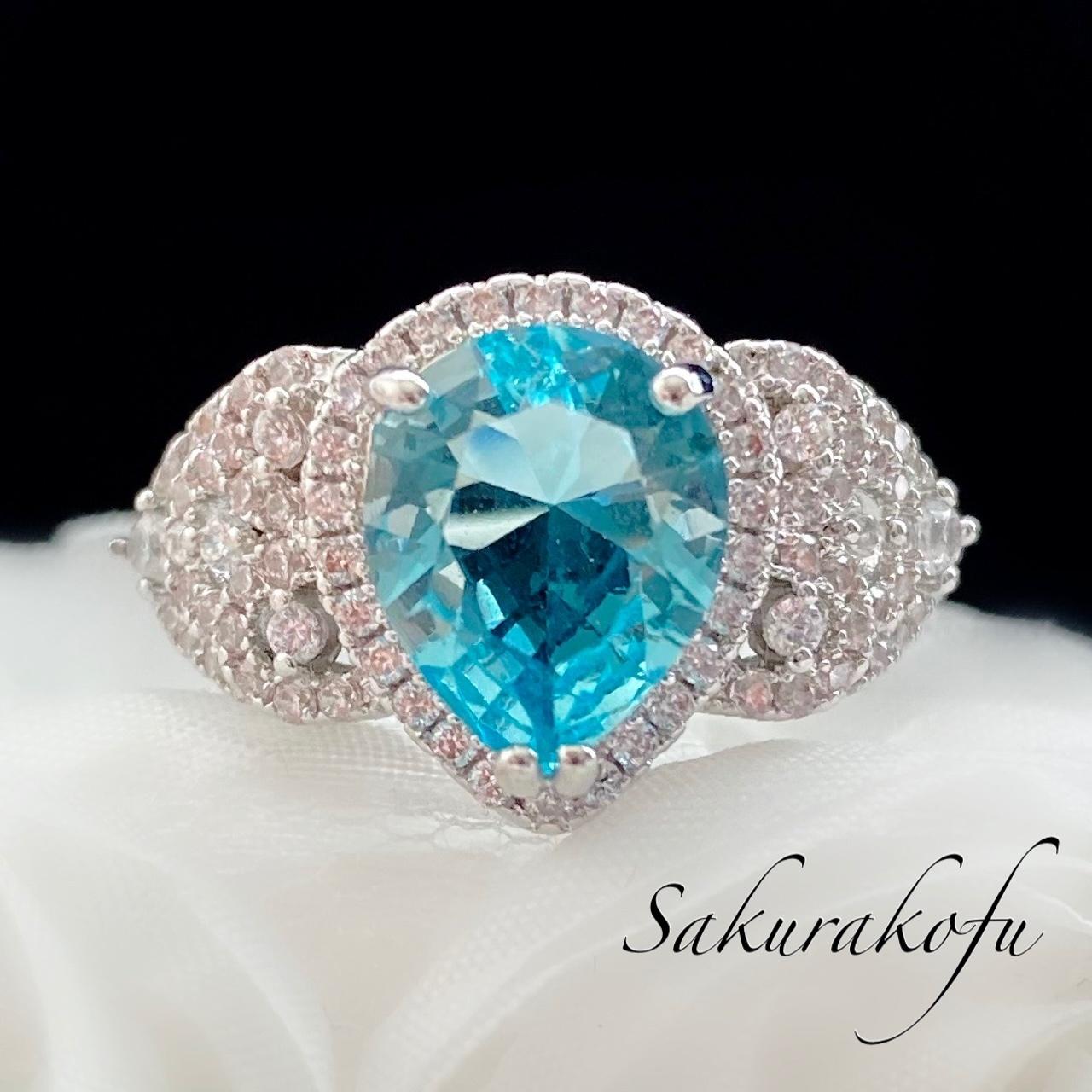 D004 送料無料 レディース 指輪 アクセサリー シルバー ブルー Aquamarine Princess Gorgeous Ring