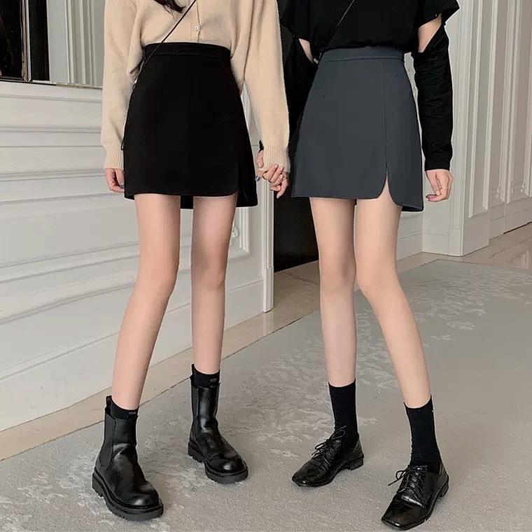 side slit A line skirt 3color