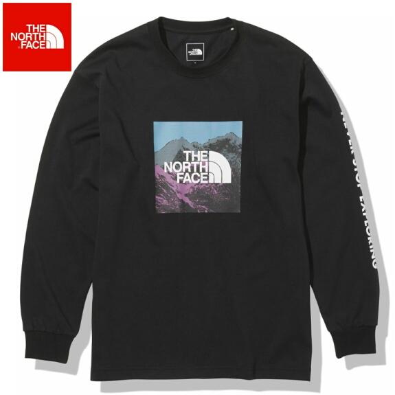 ノースフェイス ロンT 長袖 Tシャツ メンズ THE NORTH FACE ロングスリーブデジタルロゴティー NT82137 ブラック