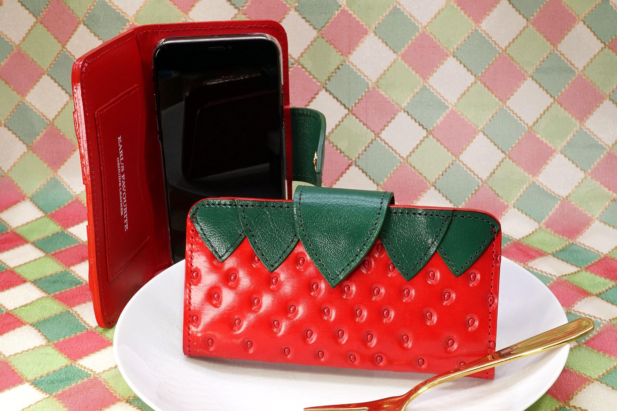 ヘタ付きいちごなスマホケース(Mサイズ)iPhone 8 X Xsなど多機種対応