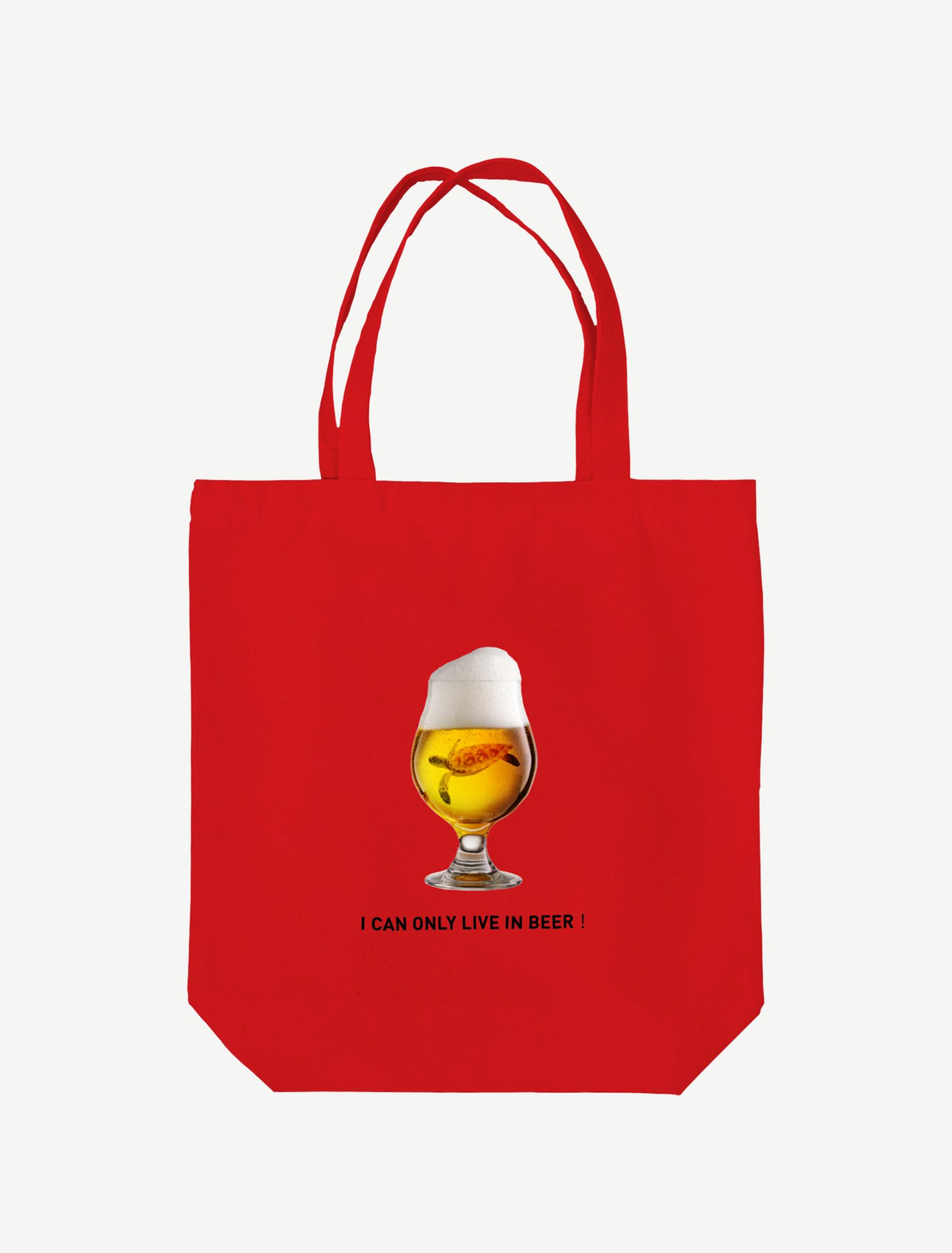 【ビールの中でしか・・・ウミガメ】トートバッグ(レッド)