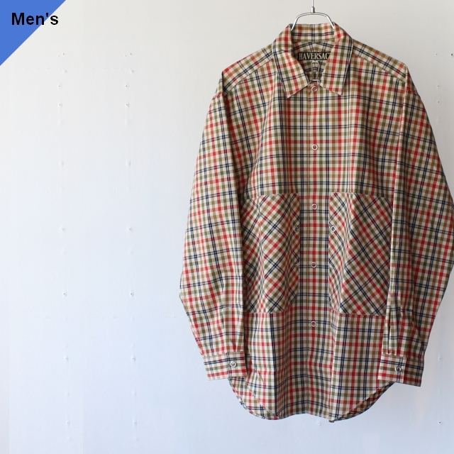 HAVERSACK ハバーサック 422029 ギャバジンチェックレギュラーシャツ Red Check