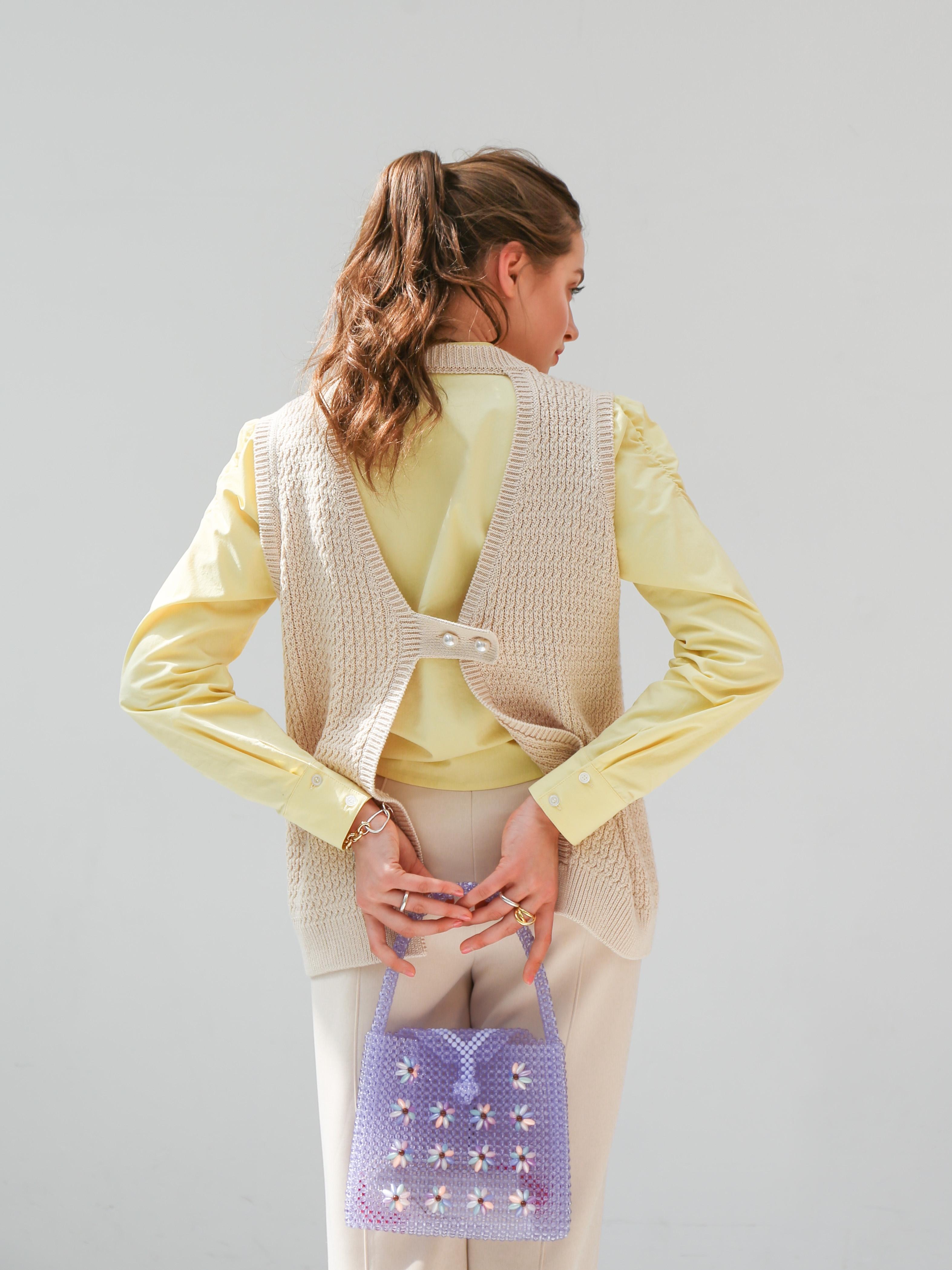 pearl knit vest(écru)