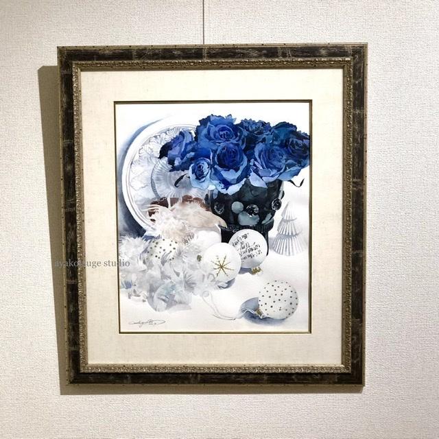 ブルーローズと白いオーナメント - Blue rose and white ornament