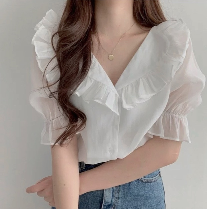 sheer puff sleeve tops 2color