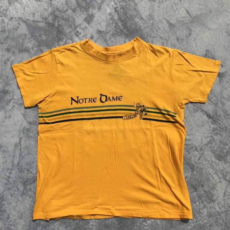 80's Champion チャンピオン 染込みプリント Tシャツ NOTRE DAME イエロートリコタグ 後期 L 希少 ヴィンテージ