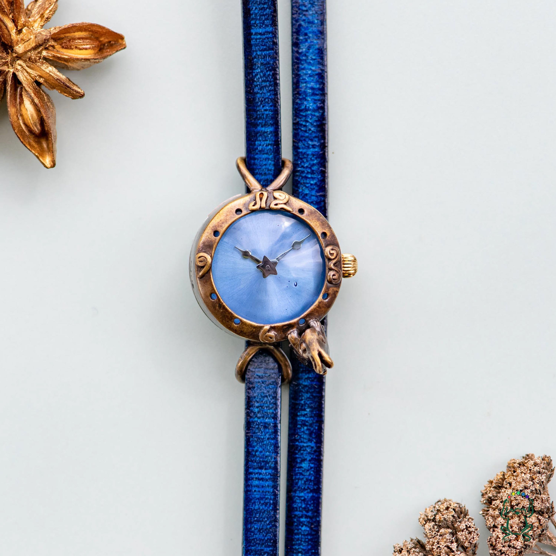 一番星見つけた子ウサギ腕時計SSパステルブルー
