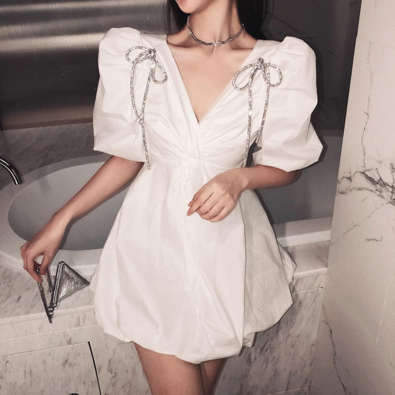 ribbon shoulder v neck dress