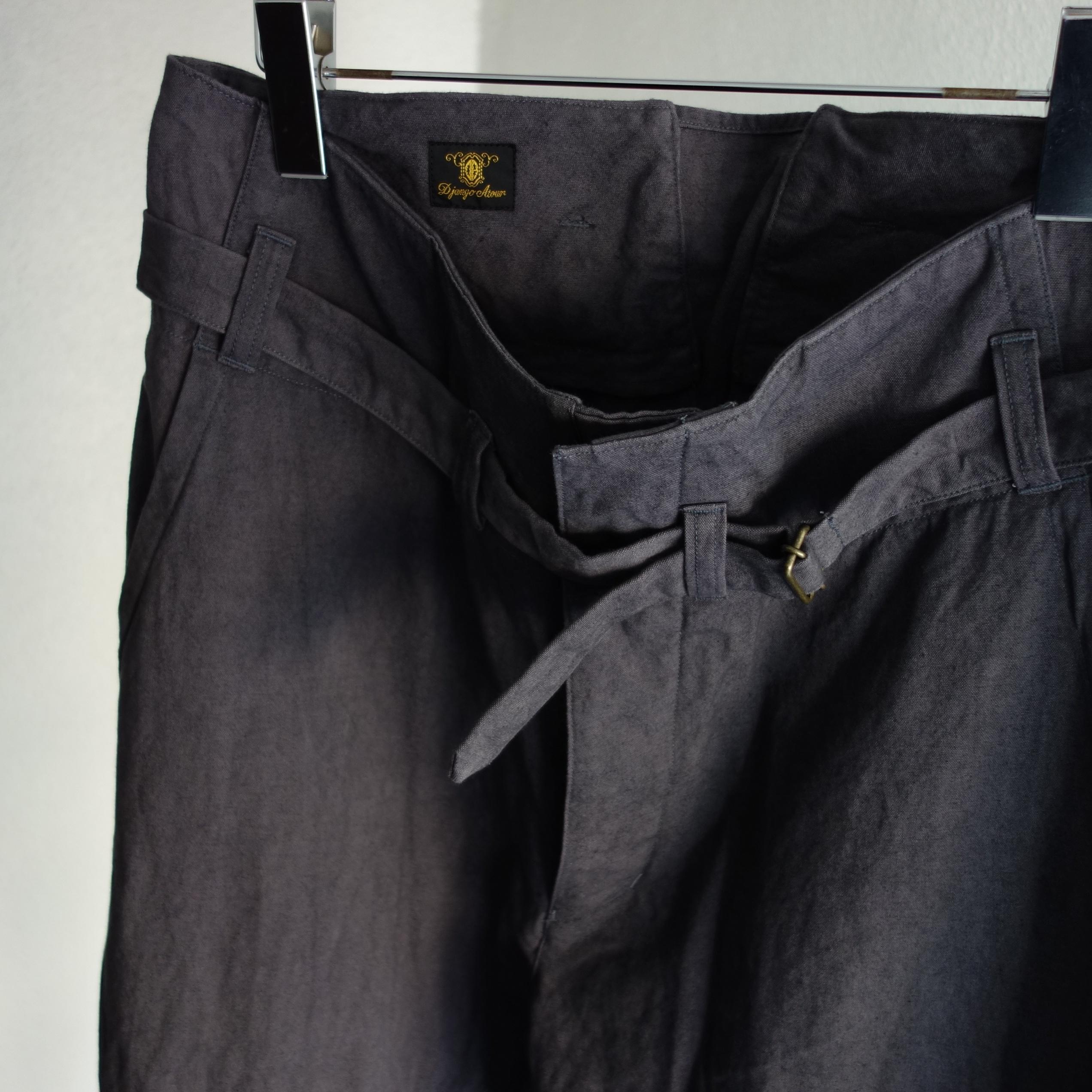 tanker work cotton-linen pants / eggplantgrey